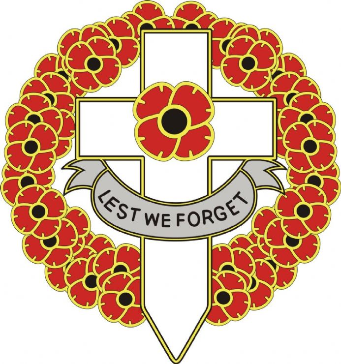 Poppy Day Sticker With Cross and Wreath